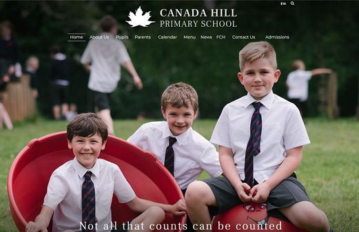 Screenshot of the Canada Hill Primary School website