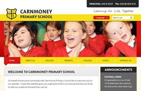 Screenshot of the Carnmoney Primary School website