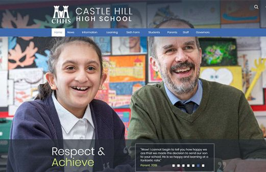 Screenshot of the Castle Hill High School website
