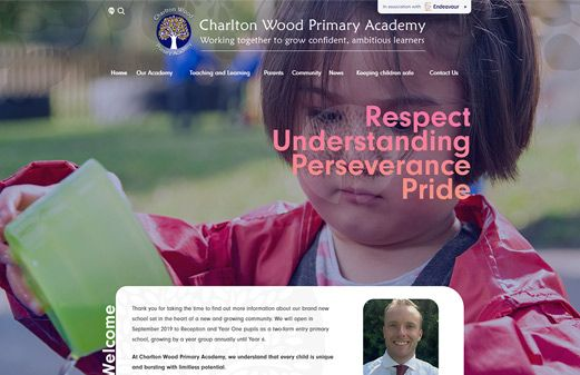 Screenshot of the Charlton Wood Primary Academy website