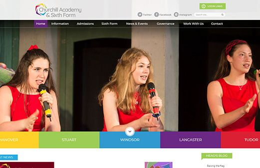 Click to view school website design for Churchill Academy & Sixth Form