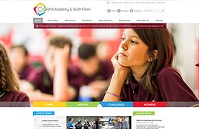 Screenshot of the Churchill Academy & Sixth Form website