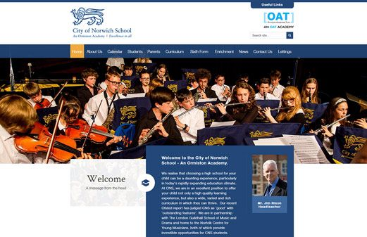 Click to view school website design for City of Norwich School