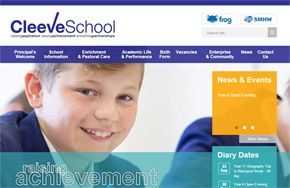 Screenshot of the Cleeve School website
