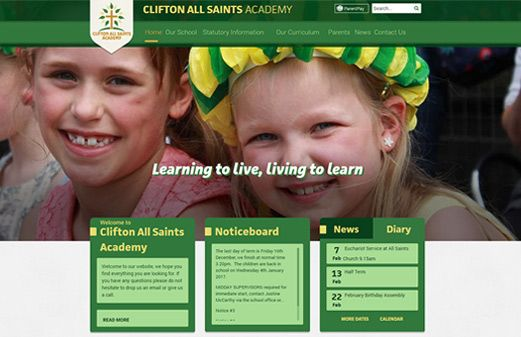 Click to view school website design for Clifton All Saints Academy