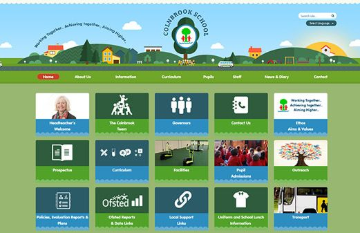 Screenshot of the Colnbrook School website