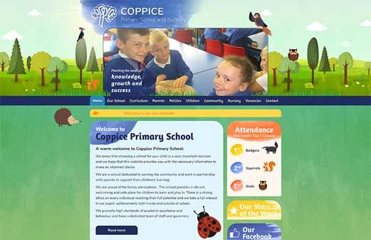 Click to view school website design for Coppice Primary School
