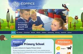 Screenshot of the Coppice Primary School website