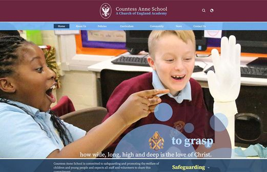 Screenshot of the Countess Anne School website