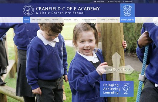 Click to view school website design for Cranfield Church of England Academy