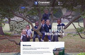 Screenshot of the Cranmer Primary School website
