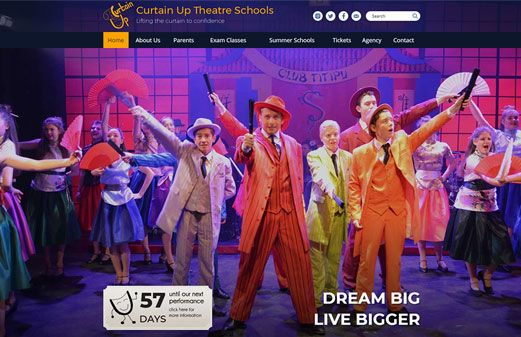 Screenshot of the Curtain Up website