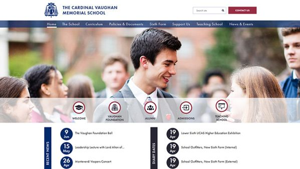 Click to view school website design for Cardinal Vaughan Memorial School