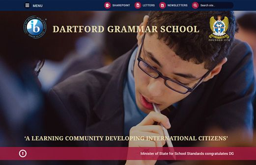 Screenshot of the Dartford Grammar School website