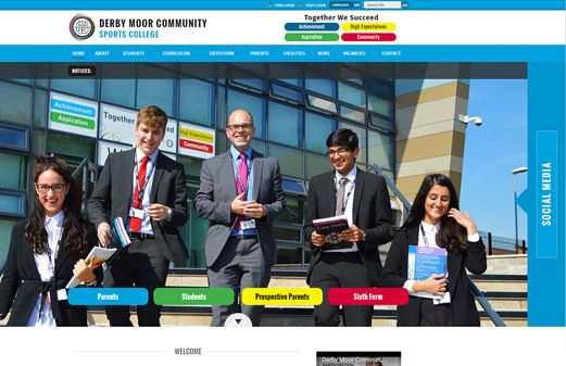 Screenshot of the Derby Moor Community Sports College website