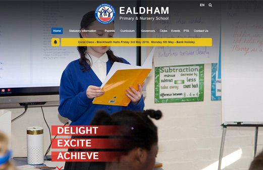 Screenshot of the Ealdham Primary School website