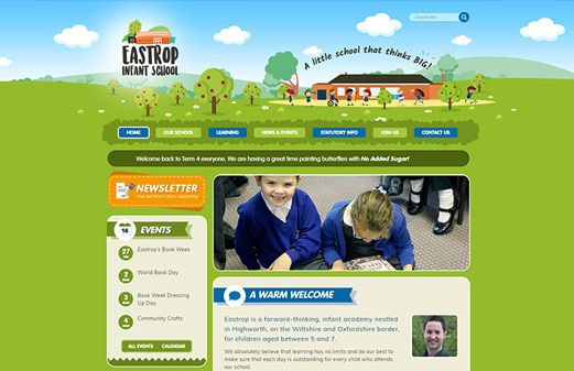 Screenshot of the Eastrop Infant School website
