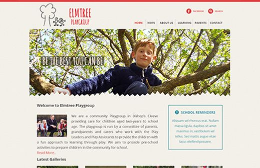 Click to view school website design for Elmtree Playgroup