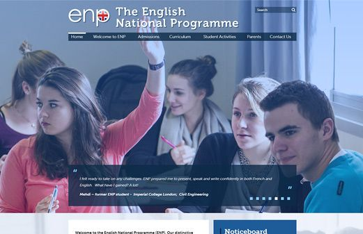Click to view school website design for The English National Programme