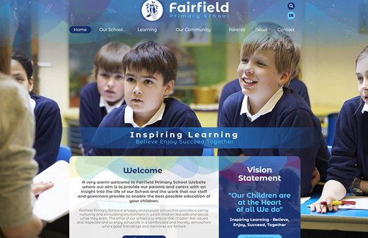 Click to view school website design for Fairfield Primary School