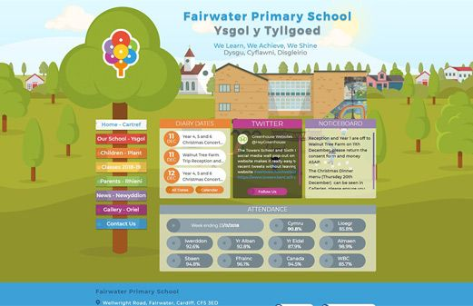 Screenshot of the Fairwater Primary School website