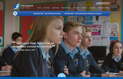Screenshot of the Farlingaye High School website