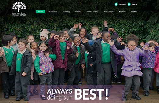 Screenshot of the Farnham Green Primary School website
