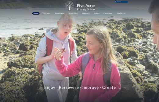 Click to view school website design for Five Acres Primary School