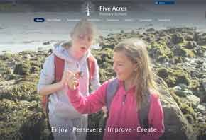 Screenshot of the Five Acres Primary School website