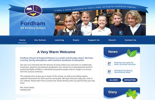 Click to view school website design for Fordham CE Primary School