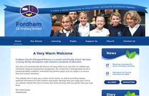 Screenshot of the Fordham CE Primary School website