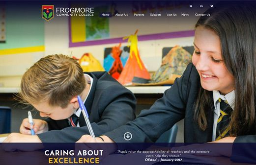 Click to view school website design for Frogmore Community College