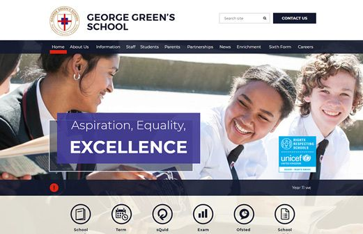 Click to view school website design for George Green's School
