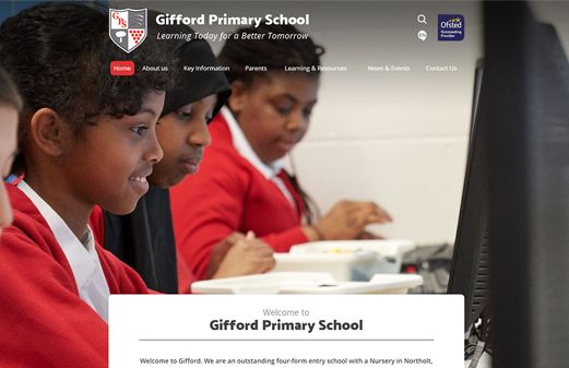 Screenshot of the Gifford Primary School website