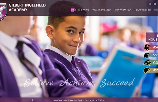 Screenshot of the Gilbert Inglefield Academy website