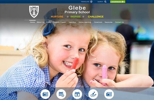 Screenshot of the Glebe Primary website