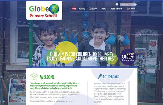 Screenshot of the Globe Primary School website