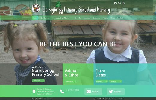 Screenshot of the Gorseybrigg Primary School and Nursery website