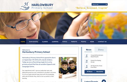 Screenshot of the Harlow Bury Primary School website