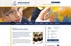 Screenshot of the Harlowbury Primary School website