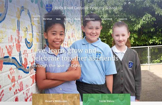 Screenshot of the Holy Rood Catholic Primary School website