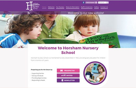 Screenshot of the Horsham Nursery School website