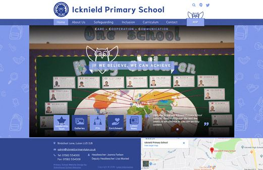 Screenshot of the Icknield Primary School website