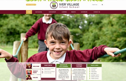 Screenshot of the Iver Village Infant School website