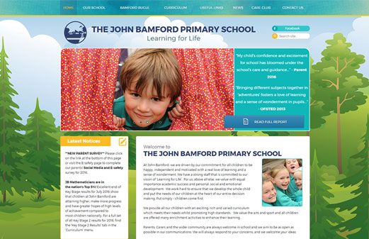 Click to view school website design for The John Bamford Primary School