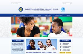 Screenshot of the Jubilee Primary School website