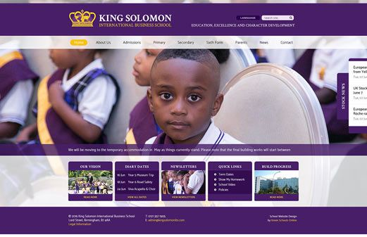Screenshot of the King Solomon International Business School website