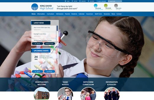 Click to view school website design for King David High School
