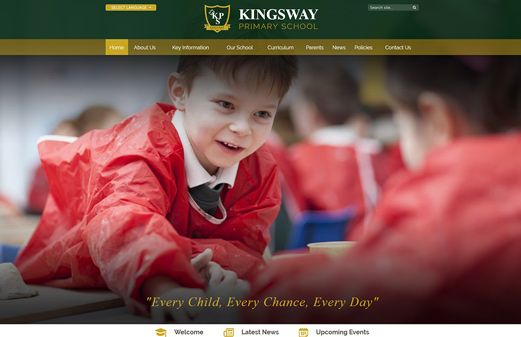 Screenshot of the Kingsway Primary School website