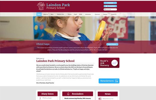 Screenshot of the Laindon Park Primary School website